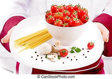 chef, pastas, ingredientes, italiano