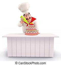 chef, pastel, sonriente, decorar