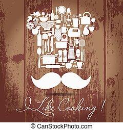 chef pastry vintage theme