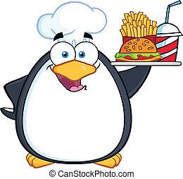 Chef Penguin Holding A Platter