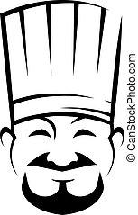 chef, perilla, sonriente, chino, barba