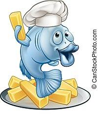 chef, pez, caricatura, pedacitos, carácter