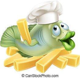 chef, pez, pedacitos