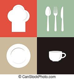 chef, piastra, tazza, illustrazione, vettore, cappello, posate