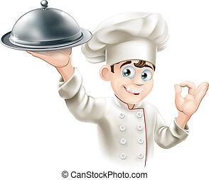 chef, piatto da portata, presa a terra, felice