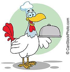 chef, piatto da portata, servire, uccello, gallo