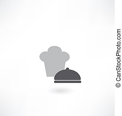 chef, piatto, pietanza, cappello, icona