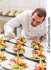 chef, piatto, pietanza, decorare, antipasto
