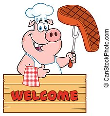 Chef Pig Cartoon Mascot Character Holding A Cooked Steak On A Bbq Fork Over A Wooden Sign Giving A Thumb Up