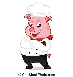 Chef pig cartoon mascot folding hands