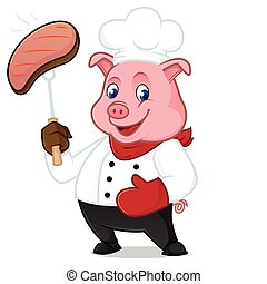 Chef pig cartoon mascot grilling pork