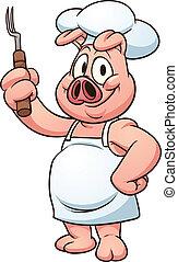Chef pig - Cartoon chef pig. Vector clip art illustration...