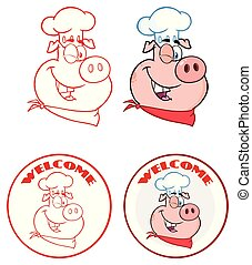 Chef Pig Face Cartoon Mascot Character Circle Banner Design