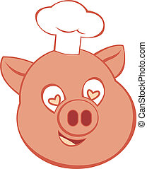 Chef Pig Icon - Vector character illustration showing a...