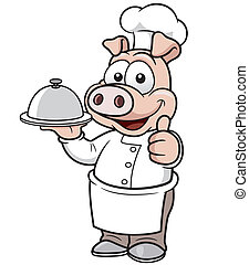 Chef pig - Vector illustration of Cartoon chef pig