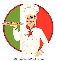 chef, pizza, baffi, divertente, italiano