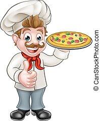 chef, pizza, carattere, cartone animato, mascotte