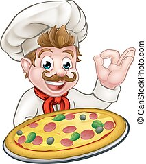 Chef Pizza Cartoon Character Mascot