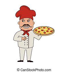 chef pizza character icon