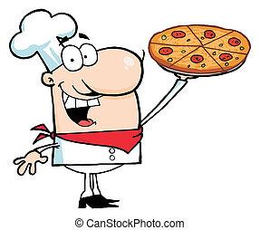 chef, pizza, el suyo, pastel, presentación