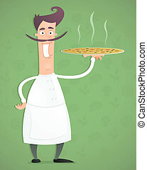 Chef Pizza - Illustration of an cartoon happy chef with...