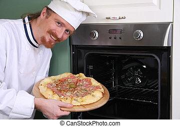 chef, pizza, italiano, joven, cocina