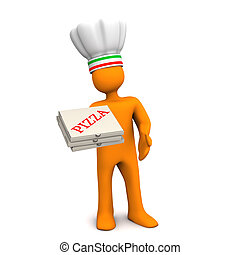 Chef Pizza - Orange cartoon character with pizza boxes....