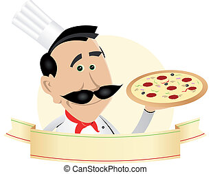Chef Pizza Restaurant Banner - Illustration of a chef pizza...