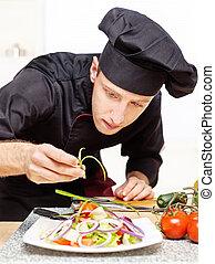 chef, placa, decorar, delicioso, ensalada