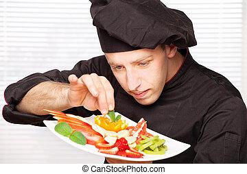chef, placa, decorar, fruta, delicioso