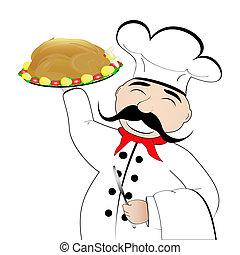 chef, placa, pollo