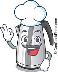 Chef plastic electric kettle isolated on cartoon
