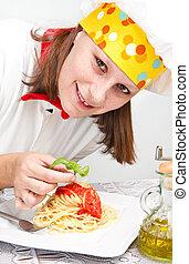 chef, plato de las pastas, sonriente, aderezo, italiano