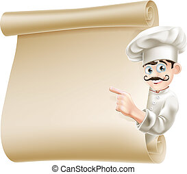 Chef pointing at menu - Illustration of a happy cartoon chef...
