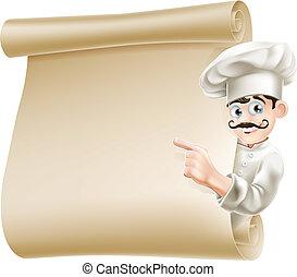 Illustration of a happy cartoon chef pointing at menu
