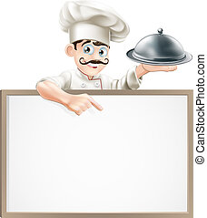 Chef pointing at sign - A cartoon chef character holding a...