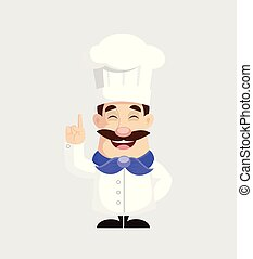 Chef Pointing Finger Vector Illustration