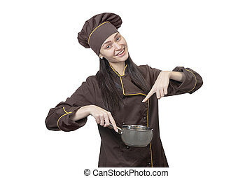 chef points to the pot