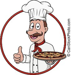 chef, pollice, con, pizza, piatto, pietanza