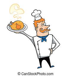 Chef, pollo, caricatura, asado
