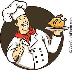 chef, pollo, cocina, frito