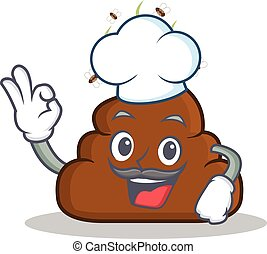 Chef Poop emoticon character cartoon