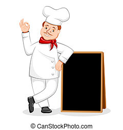 illustration of chef standing with black board for menu