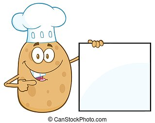 Chef Potato Pointing To A Blank Sig - Chef Potato Character...