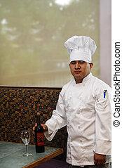 chef, preparando, vino