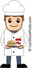 Chef Prepared Fast Food Vector