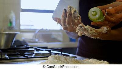 Chef preparing dough in kitchen 4k