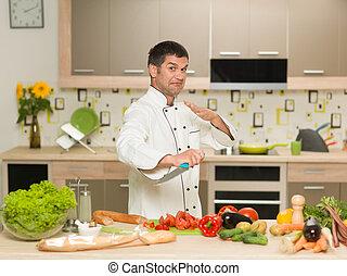 chef preparing food, fight gesture