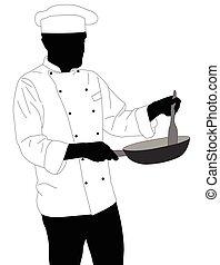 chef preparing food in frying pan silhouette