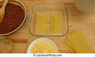 Chef preparing lasagna. 4k